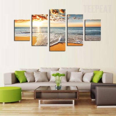 Sunset By The Sea Painting - 5 Piece Canvas-Canvas-TEEPEAT