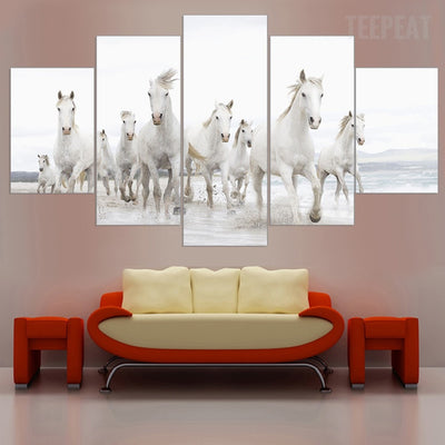 White Horses At The White Beach - 5 Piece Canvas Painting-Canvas-TEEPEAT