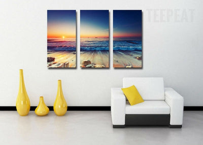 Low Tide Before Sun Down - 3 Piece Canvas Painting-Canvas-TEEPEAT