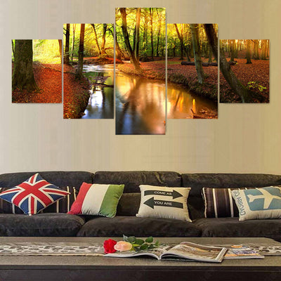 Forest Stream Painting - 5 Piece Canvas-Canvas-TEEPEAT