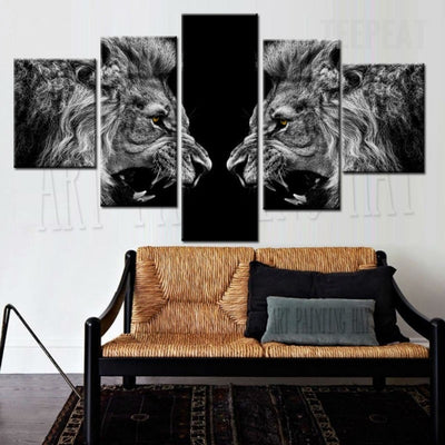 Roaring Lions Black and White Painting - 5 Piece Canvas-Canvas-TEEPEAT