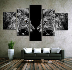 Roaring Lions Black and White Painting - 5 Piece Canvas