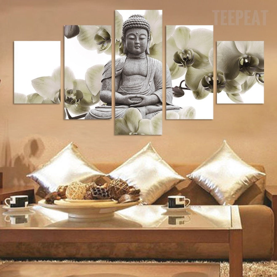 Marble Buddha And Bamboo Landscape - 5 Piece Canvas
