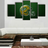 Green Bay Packers Helmet - 5 Piece Canvas Painting-Canvas-TEEPEAT