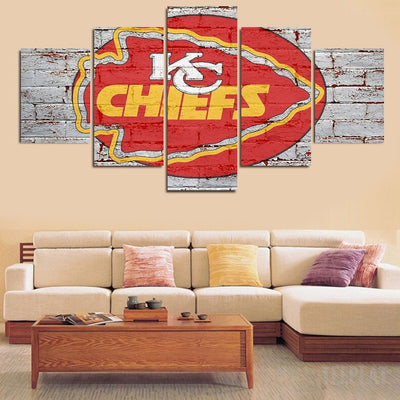 "Kansas City Chiefs ""Wall Design"" - 5 Piece Canvas Painting-Canvas-TEEPEAT"