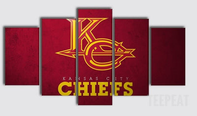 "Kansas City Chiefs ""Fire"" - 5 Piece Canvas Painting-Canvas-TEEPEAT"