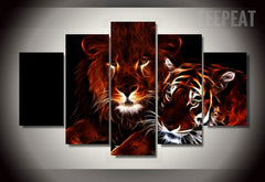 Glowing Lion And Tiger - 5 Piece Canvas