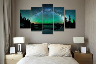 Starburst Over Aurora Borealis - 5 Piece Canvas Painting-Canvas-TEEPEAT