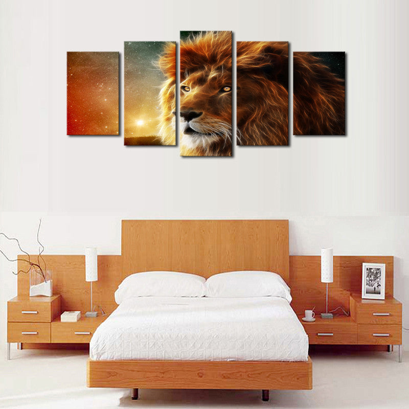 Lion Face Close Up View - 5 Piece Canvas-Canvas-TEEPEAT