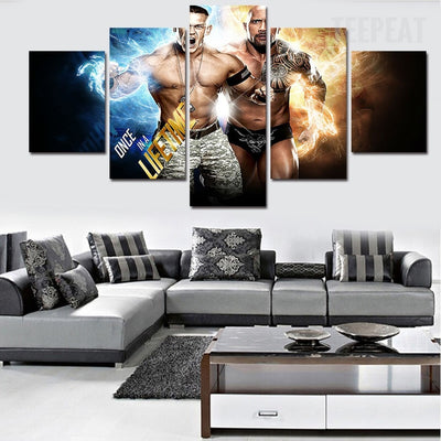 WWE Superstars John Sena and The Rock - 5 Piece Canvas Painting-Canvas-TEEPEAT