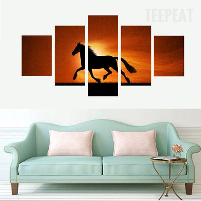 Running Horse Before The Sunrise - 5 Piece Canvas Painting-Canvas-TEEPEAT