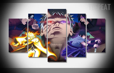Naruto Shippuden Characters Painting - 5 Piece Canvas-Canvas-TEEPEAT