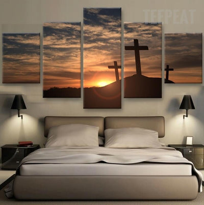 Three Crosses At Sunset Painting - 5 Piece Canvas-Canvas-TEEPEAT