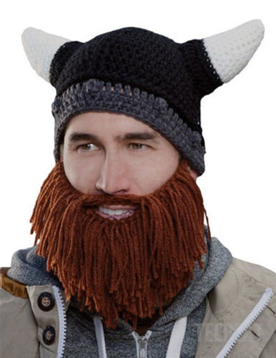 Homemade Winter Beard Beanie-TEEPEAT