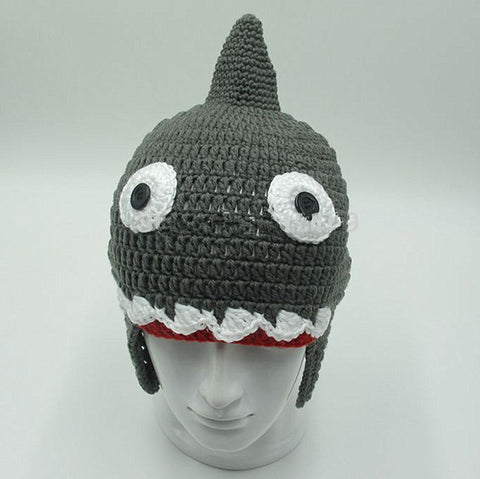 Homemade Knitted Crochet Shark Attack Beanie-TEEPEAT