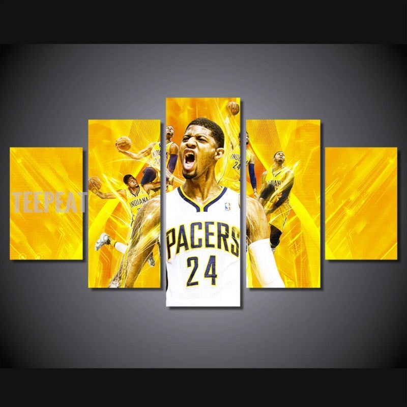 Pacers Paul George - 5 Piece Canvas Painting-Canvas-TEEPEAT
