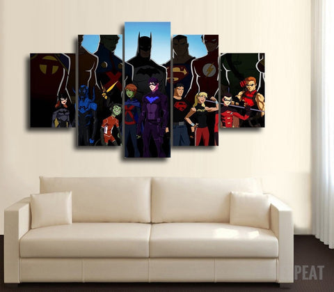 The Justice League (Animated Version) - 5 Piece Canvas Painting-Canvas-TEEPEAT