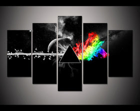 Pink Floyd: The Dark Side of the Moon - 5 Piece Canvas Painting-Canvas-TEEPEAT