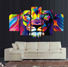 Lion King - Colorized - 5 Piece Canvas Painting