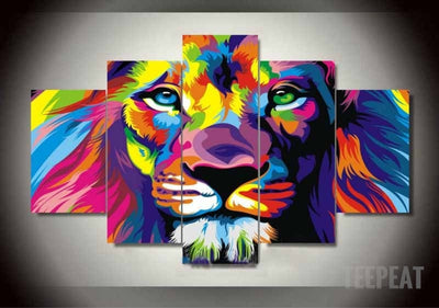 Lion King - Colorized - 5 Piece Canvas Painting-Canvas-TEEPEAT