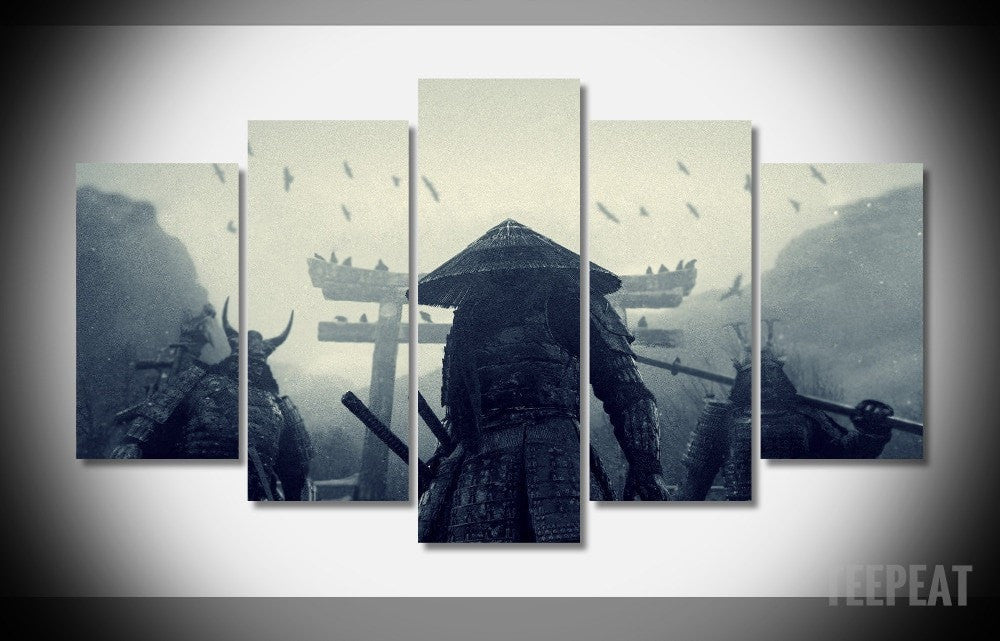 Samurai Painting - 5 Piece Canvas-Canvas-TEEPEAT