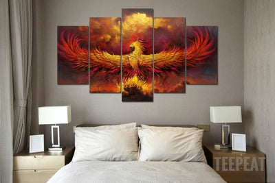 Rise From the Ashes - 5 Piece Canvas Painting-Canvas-TEEPEAT