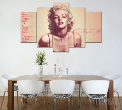 Marilyn Monroe - 5 Piece Canvas Painting