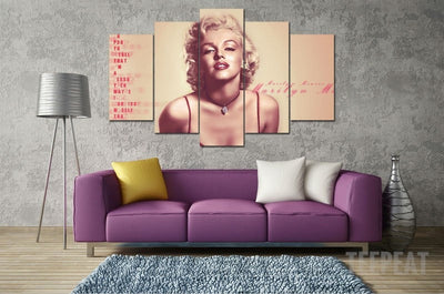 Marilyn Monroe - 5 Piece Canvas Painting-Canvas-TEEPEAT
