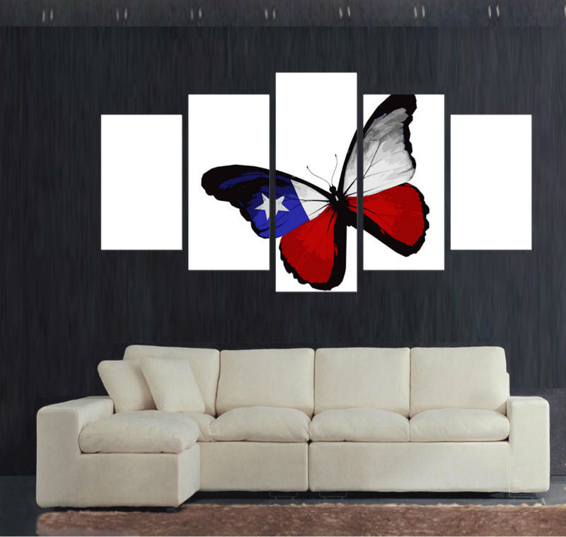 Texan Flag On A Butterfly - 5 Piece Canvas Painting-Canvas-TEEPEAT