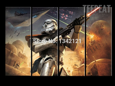 Stormtrooper Painting - 4 Piece Canvas-Canvas-TEEPEAT