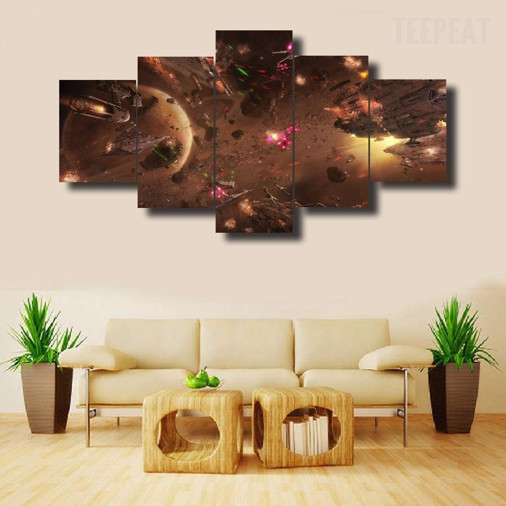 Star Wars Battle V2 - 5 Piece Canvas Painting-Canvas-TEEPEAT