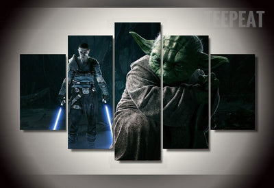 Star Wars: Princess Leia and Yoda Painting - 5 Piece Canvas-Canvas-TEEPEAT