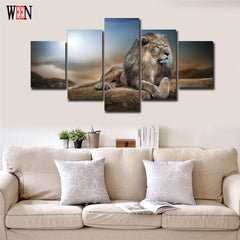 The King Of The Jungle V3 Painting - 5 Piece Canvas