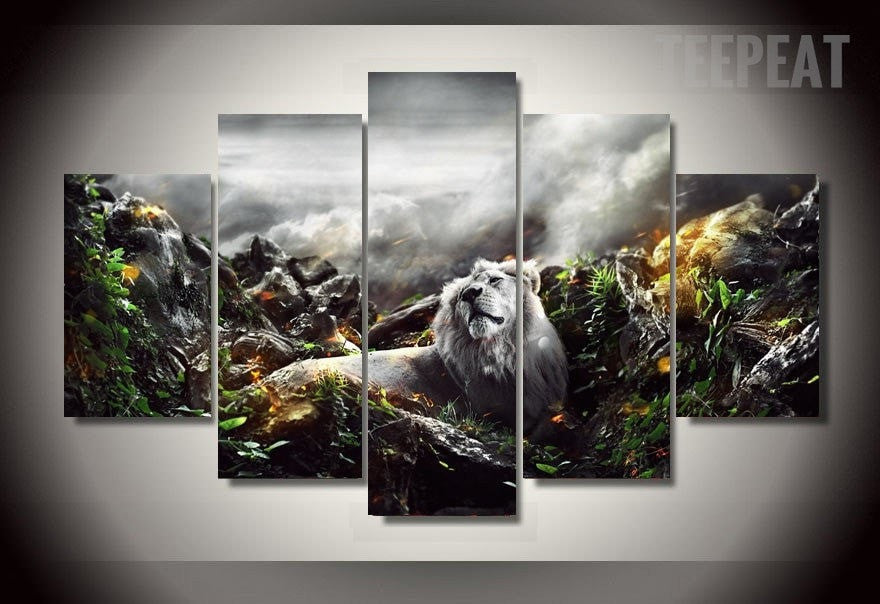 Lion In The Jungle - 5 Piece Canvas Painting-Canvas-TEEPEAT