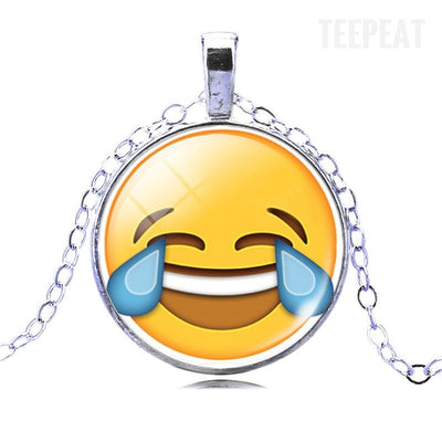 Silver Plated Emoji Necklace-TEEPEAT