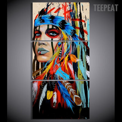 Indian Woman Painting - 3 Piece Canvas-Canvas-TEEPEAT