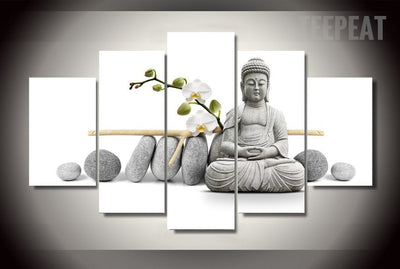 Stone Buddha Painting - 5 Piece Canvas-Canvas-TEEPEAT
