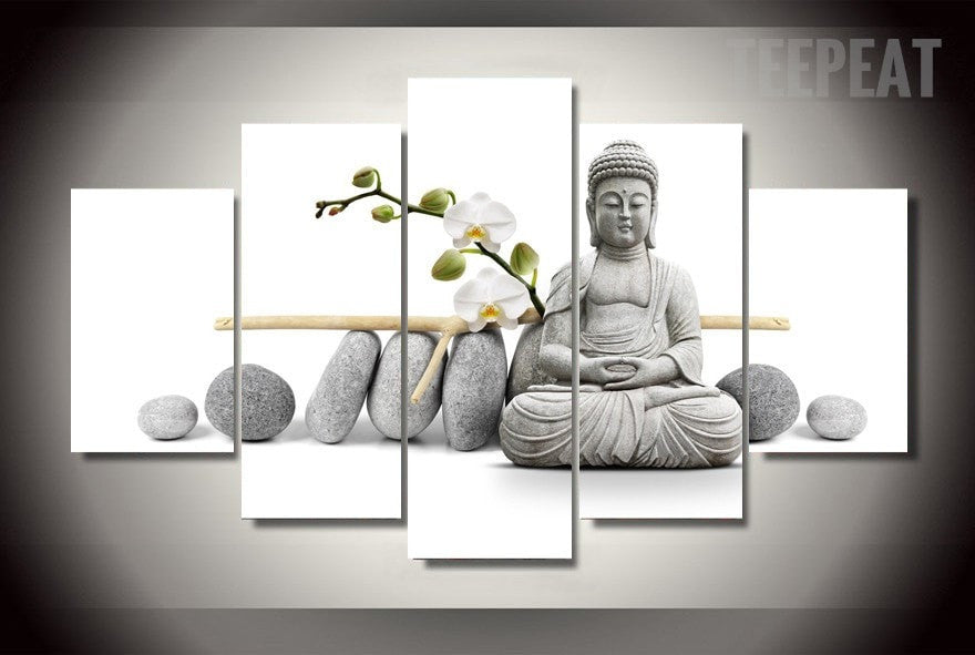Stone Buddha Painting - 5 Piece Canvas