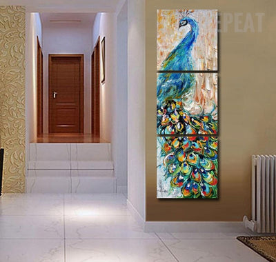 Peacock Painting - 3 Piece Canvas-Canvas-TEEPEAT