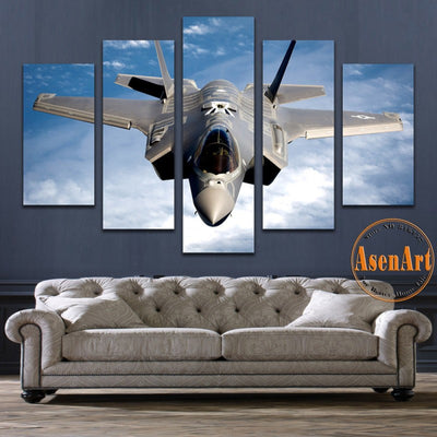 Fighter Aircraft Painting - 5 Piece Canvas-Canvas-TEEPEAT