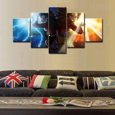 Goku & Vegeta - 5 Piece Canvas Painting-Canvas-TEEPEAT
