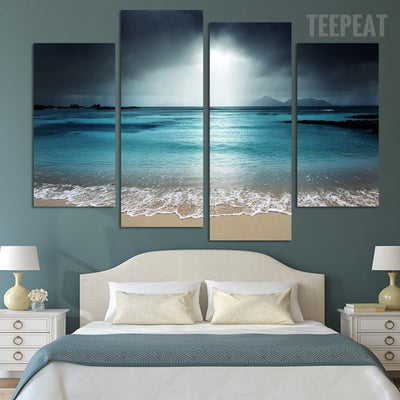Sea, Beach & Clouds Painting - 4 Piece Canvas-Canvas-TEEPEAT