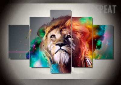 The King Of The Jungle Painting - 5 Piece Canvas-Canvas-TEEPEAT