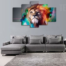 The King Of The Jungle Painting   5 Piece Canvas Canvas TEEPEAT ...