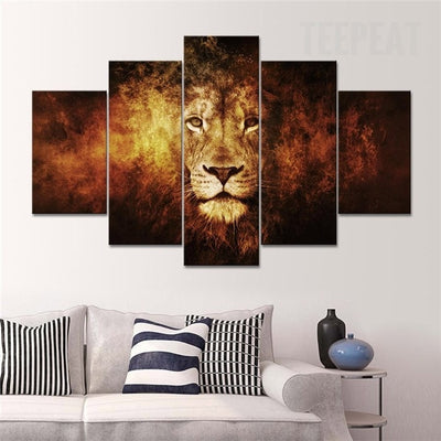 Lion Painting - 5 Piece Canvas-Canvas-TEEPEAT