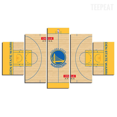 Golden State Warriors Court Painting - 5 Piece Canvas-Canvas-TEEPEAT