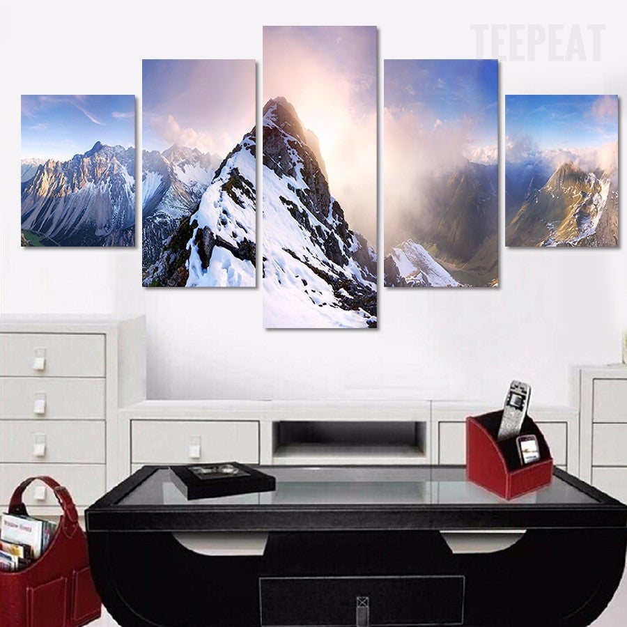 snowy mountains painting 5 piece canvas empire prints. Black Bedroom Furniture Sets. Home Design Ideas