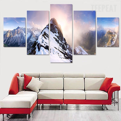 Snowy Mountains Painting - 5 Piece Canvas-Canvas-TEEPEAT