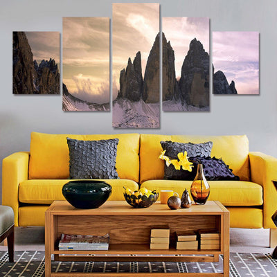 Snowy Mountainside Painting - 5 Piece Canvas-Canvas-TEEPEAT