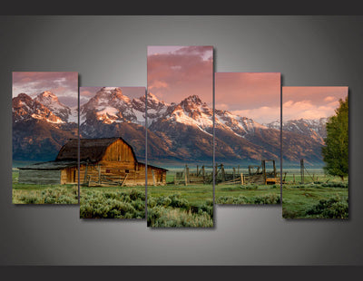 Rocky Mountains Painting - 5 Piece Canvas-Canvas-TEEPEAT